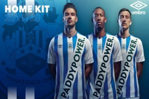 huddersfield town football kit with paddy power sponsor