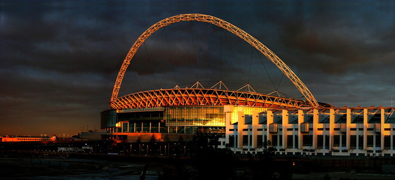 wembley stadium at sunset