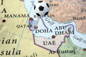 qatar on a map pinned with a football