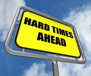 hard times ahead sign