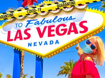 las vegas sign woman with mask on