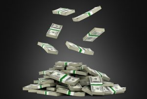 piles of cash on black background