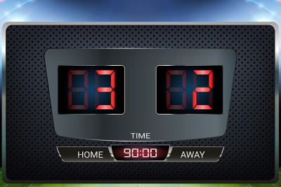 scoreboard showing 3-2 scoreline
