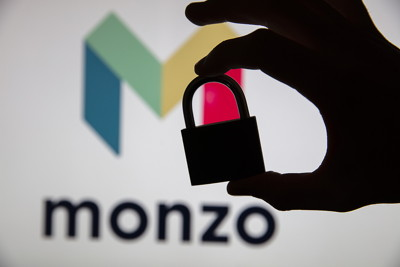 monzo with padlock in foreground