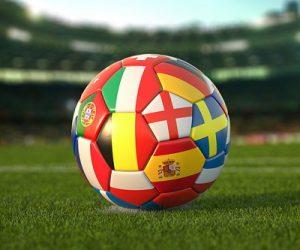football with european flags as panels euros