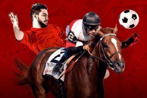 footballer and horse with jockey