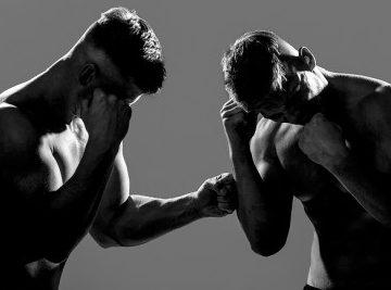 two men fighting no gloves unlicensed